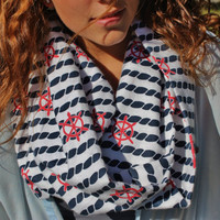 Nautical Blue White and Red Rope and Sailor's Helm Infinity Scarf, Women's Cozy Fashion Neck Warmer