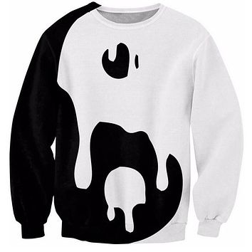 Cloudstyle 3D Sweatshirt Women Men Long Sleeve O-Neck Fashion Casual Tops Drippy Yin Yang 3D Print Black White Fitness Pullover