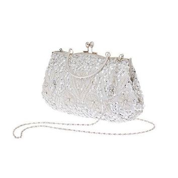 Womens Brand Fashion Polyester Beaded Handbag Wedding Party Prom Clutch Purse Evening Bag for Women Girls(Silver white)