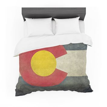 """Bruce Stanfield """"State Flag of Colorado"""" Black Red Featherweight Duvet Cover"""