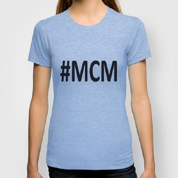 Hashtag Man Crush Monday 100% Organic tee Typography Men Fitted tee Typography Women Fitted tee Certified Organic Cotton t-shirt Trendy Tee