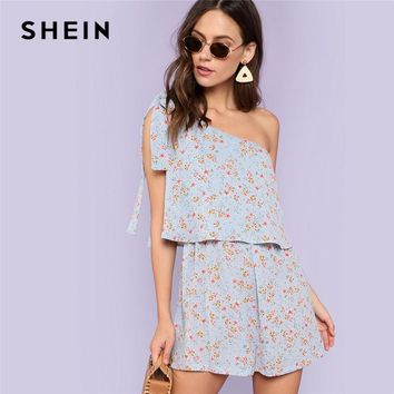 SHEIN Multicolor Vacation Bohemian Beach One Shoulder Floral Print Double Layer High Waist Romper Summer Women Casual Jumpsuit