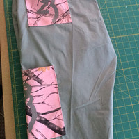 Pink and grey camo buckmark browning county girl redneck medical - dental- vet - scrub pants