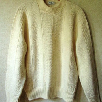 Fisherman Sweater Aran pattern crewneck pullover boyfriend sweater oversized on women natural cream acrylic sweater unisex style mens medium