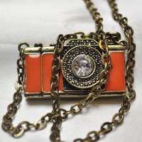 Antiqued camera charm on chunky vintage look brass chain necklace