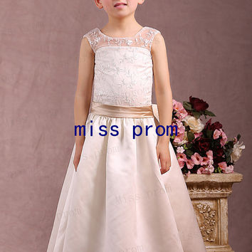 Lace and satin with sash and flowers bow flower girl dress