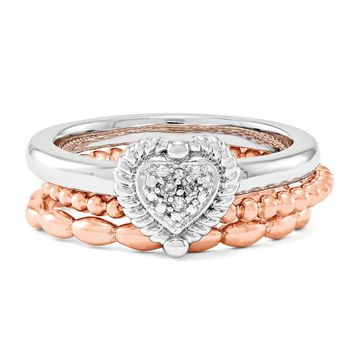 Sterling Silver, 14k Rose Gold Plated & Diamond Heart Stack Ring Set