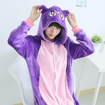 Anime Sailor Moon Cosplay Costume luna Pajamas Set Animal Purple Cat Sleepwear Sleep Lounge Pyjamas Unisex Soft Pijamas