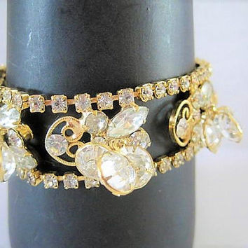 Juliana D & E Style Bracelet, Dangling Crystals, Intricate Gold Filigree, Crystals and Rhinestones with Safety Chain