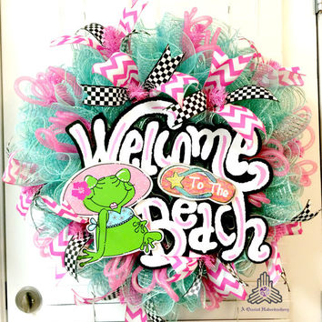 Welcome To The Beach Summer Ruffle Deco Mesh Wreath