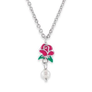 Disney® Sterling Silver Belle Rose and Pearl Necklace