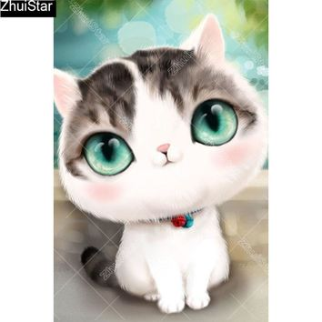 5D Diamond Painting Big Green Eyed Kitten Kit