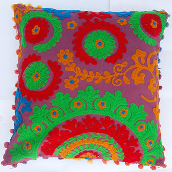 Embroidered Pillow Covers Indian Art Uzbek Suzani Cushion Covers High Fashion Decorative Pillow Cases Sofa Cushions with Cotton Pom Poms