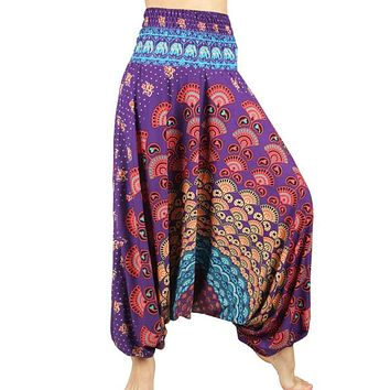 STYLEDOME One Size Low Cut Women Comfy Boho Pants Long Beach Summer Pants Indian Thai Harem Trousers Casual Loose Floral Trousers