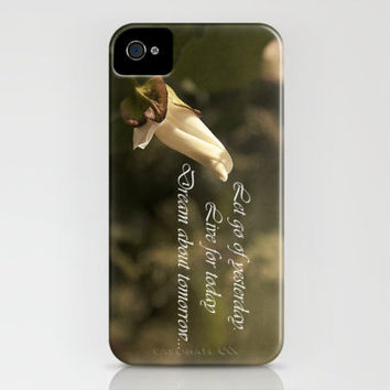 Budding Flower, Vintage & Life Quote. iPhone Case by Louise Wagstaff | Society6
