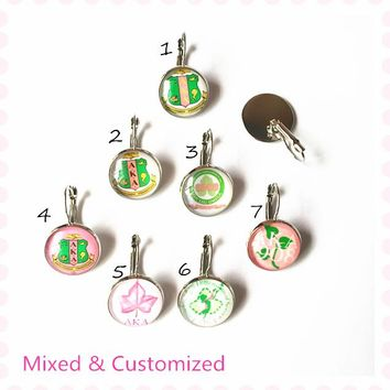 2017 new fashion AKA pink and green sorority earring mixed numbers alpha K alpha customized jewelry 18mm glass making,OGE011