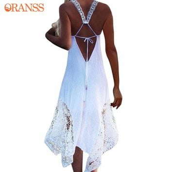 2018 Women Summer Beach Dresses Long Lace Up Hollow Out Backless Straps Beach Cover-ups Sleeveless Soft Beach Dresses Plus Size