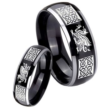 His Hers Gossy Black Dome Multiple Dragon Celtic 2 Tone Tungsten Wedding Rings Set