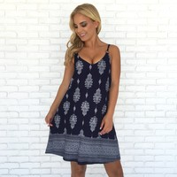 Barcelona Shift Dress in Navy Blue