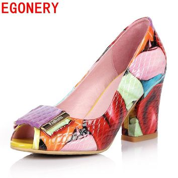 EGONERY fashion pumps shoes 2017 summer women high heels open toe shoes woman office shoes plus size party ladies dance pumps