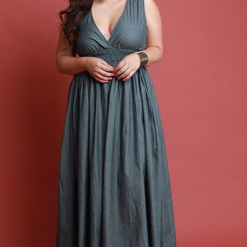 V Neck Smock Empire Waist Sleeveless Chambray Maxi Dress