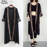TingYiLi Black White Kimono Cardigan Women Embroidery Long Cardigan Summer Beach Chiffon Maxi Cardigan Female