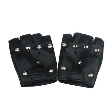 2016 Hot Selling Theatrical Punk Hip-hop Gloves men With PU Half-finger Leather Male Gloves Round Nail Guantes para hombres Y10