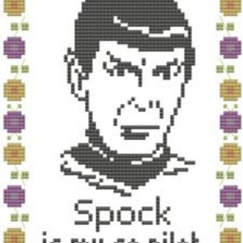 cross stitch pattern embroidery spock is my co-pilot pdf star trek