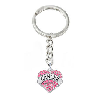 Alloy Heart Shape Style Crystal Rhinestone Name Cancer Keychains