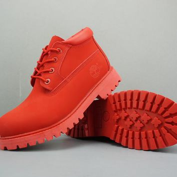 Timberland Leather Lace-Up Boot Low Red - Best Deal Online