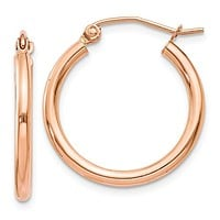 14k Rose Gold Click-down Hoop Earrings (2mm), All Sizes