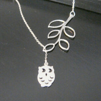 Sterling Silver Adjustable Leaf and Owl Bird Necklace Bridesmaids Gift Christmas Celebrity Inspired Jewelry Family Jewelry