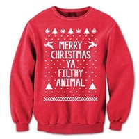 Merry Christmas Ya Filthy Animal Mens Sweatshirt Large Red