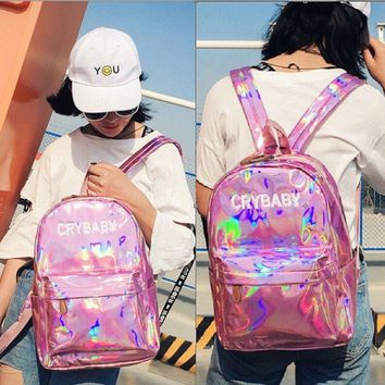 Fashion Women Laser Leather Backpack Hologram Holographic School Bookbag Tote