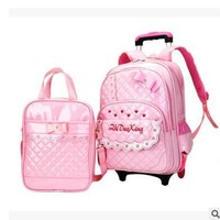 School Backpack Student Trolley  bag kid's luggage Rolling Bags wheeled Backpacks for Girls School Bag On wheels for Children AT_48_3