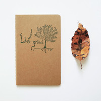 Love Grows pocket moleskine, trees hearts hippie journal