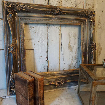 Distressed rustic wood frame lg ornate antique farmhouse thick wide dramatic charcoal gray sooty painted wall hanging home decor anita spero