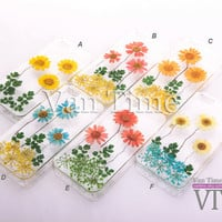 iPhone 5 case, iPhone 4 case, iPhone 4s case, iPhone 5s case, iPhone 5c case, Galaxy S4 S5, Note 3, Pressed Real Flower case Daisy sunflower