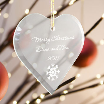 Personalized Glass Heart Ornament-Perfect Christmas Gift for your Tree!