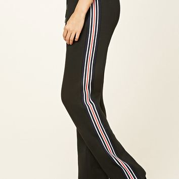 Stripe-Trim Zippered Sweatpants