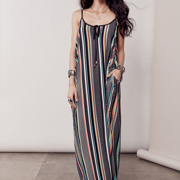 IBIZA STRIPED MAXI DRESS - BLACK + MULTI