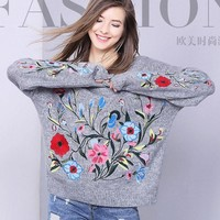 Embroidered flowers new pullover knitted sweater fashionable loose sweater