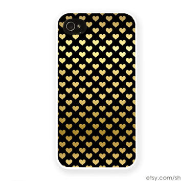 Heart iPhone Case Gold Hearts iPhone Case Valentines Day iPhone 4 Case iPhone 5 Case iPhone 4s Case iPhone 5s Black and Gold iPhone