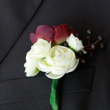 Silk Plum and Ivory Woodland Romantic Boutonniere