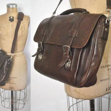 Coach Briefcase / laptop bag / chocolate brown leather / unisex