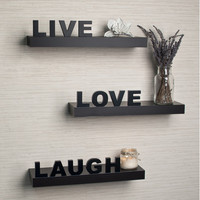 DanyaB Decorative Live, Love, Laugh Wall Shelves (Set of 3)