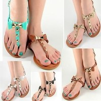 Womens Summer Sandals Bow Design Gladiator T-Strap Flat Shoes Teal Black White