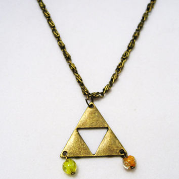 Triforce necklace Zelda with glow in the dark glass beads antique  bronze lead and nickle free
