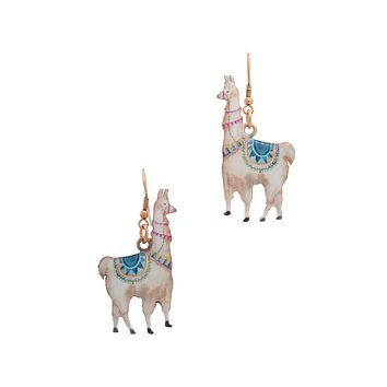 Handpainted Peruvian Rose Gold Llama Drop Earrings