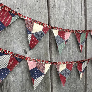 Patchwork Fabric Bunting, Rustic Chic Pennant Flag Banner, Birthday Party or Wedding Backdrop, Country Home Mantle Decor, Wall Hanging